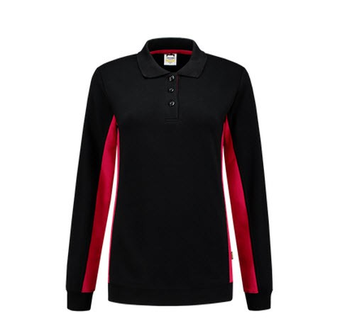 Tricorp Dames Polosweater Bicolor 2002 zwart-rood 1