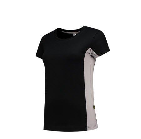 Tricorp Dames T-shirt Bicolor 2003 zwart-grijs