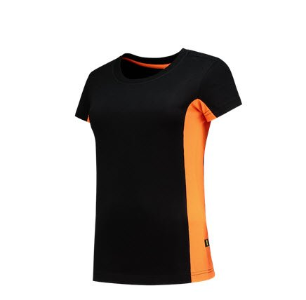 Tricorp Dames T-shirt Bicolor 2003 zwart=oranje