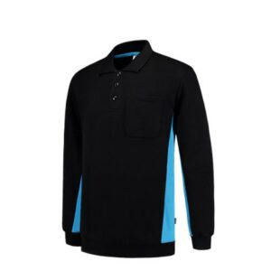 Tricorp Polosweater Bicolor TS2000 zwart-turqouise
