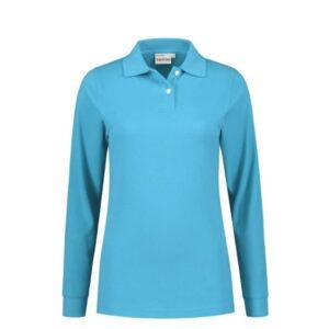Santino Matt Dames Polo-shirt lange mouwen L blauw