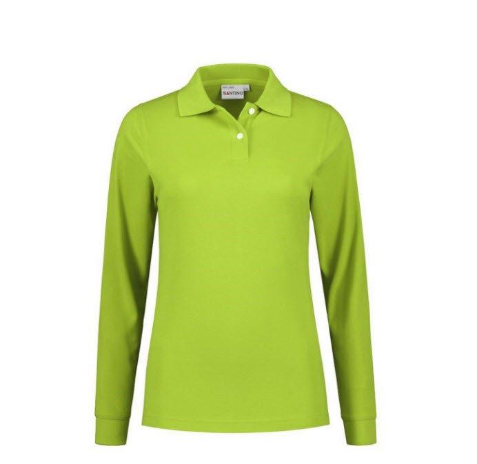 Santino Matt Dames Polo-shirt lange mouwen limegroen