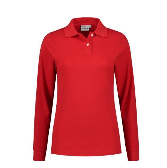 Santino Matt Dames Polo-shirt lange mouwen rood