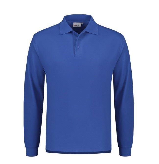 Santino Matt Polo-shirt lange mouwen blauw