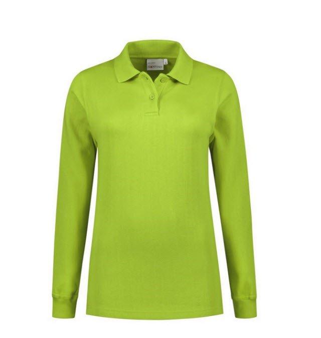 Santino Rick Dames Polo sweater lange mouwen limegroen