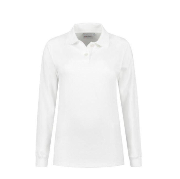 Santino Rick Dames Polo sweater lange mouwen wit