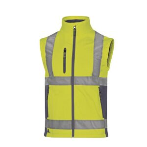 DeltaPlus Hi-vis softshell jas stretch 2in1 geel bodywarmer