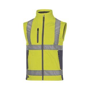 DeltaPlus Hi-vis softshell jas stretch 2in1 geel bodywarmer