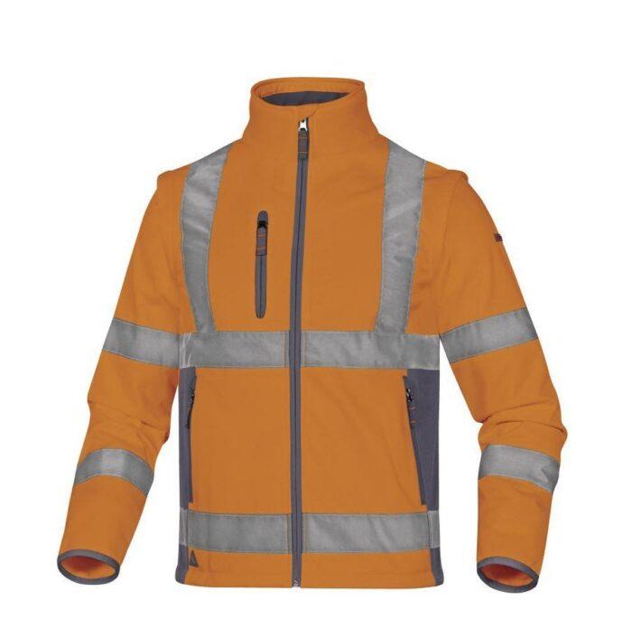 DeltaPlus Hi-vis softshell jas stretch 2in1 oranje