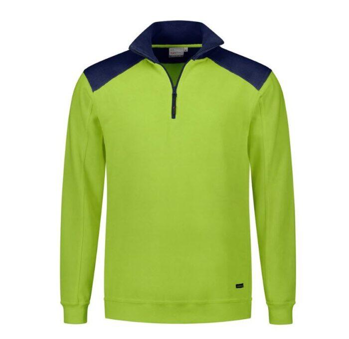 Santino Tokyo 2color Zip sweater (280gm2) limegroen-marine