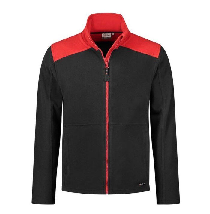 Santino Trento 2color Zip Fleecejack (280g-m2) zwart-rood