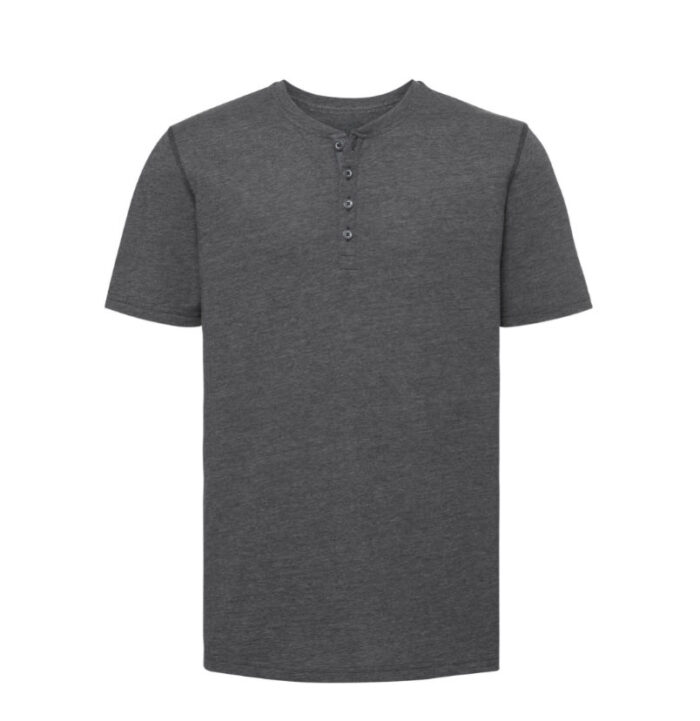 Russell T-shirt Henley HD met knoopjes 155g-m2 Donker grijs