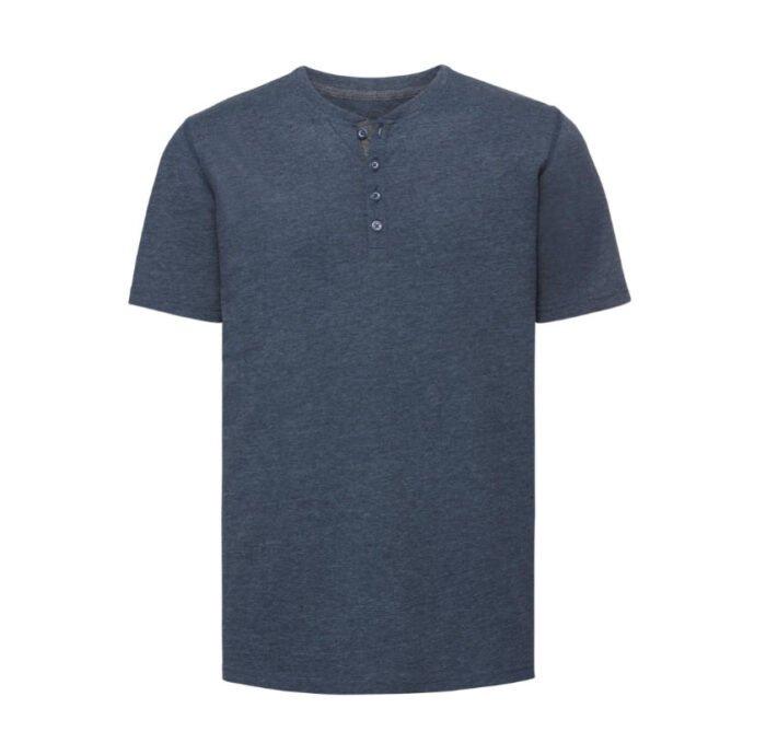 Russell T-shirt Henley HD met knoopjes 155g-m2 marine