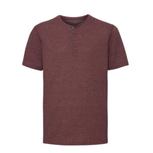 Russell T-shirt Henley HD met knoopjes 155g-m2 wijnrood
