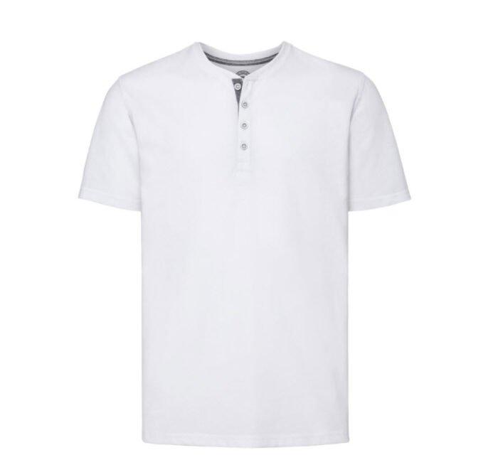 Russell T-shirt Henley HD met knoopjes 155g-m2 wit