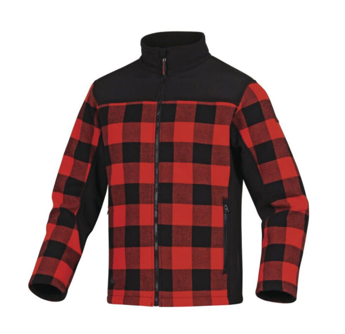 delta plus fleece ruitjes jas, vest rood