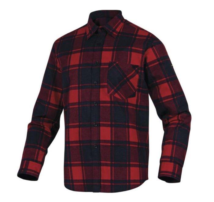 delta plus ruby ruitjes katoen werkhemd rood