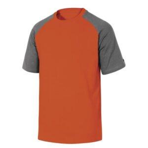 delta plus t shirt korte mouw katoen rood grijs