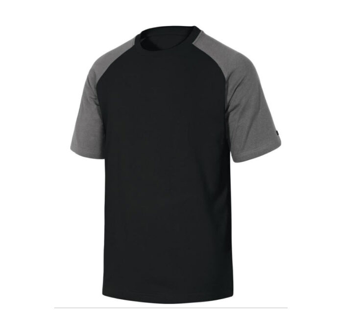 delta plus t shirt korte mouw katoen zwart grijs
