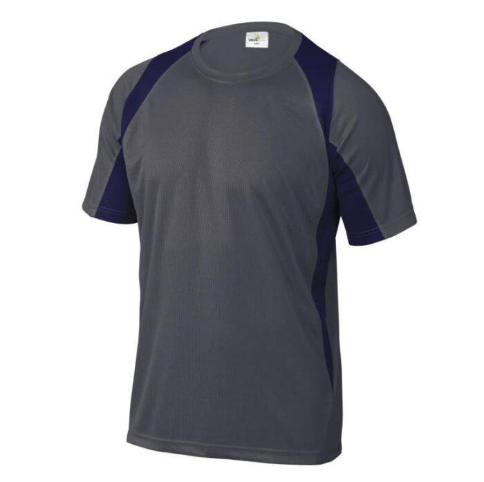delta plus t shirt korte mouw polyester grijs zwart