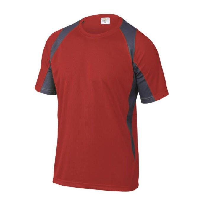 delta plus t shirt korte mouw polyester rood grijs