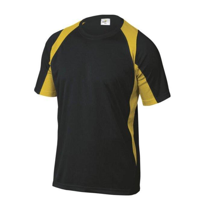 delta plus t shirt korte mouw polyester zwart geel