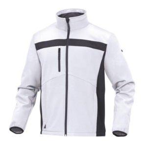 delta plus lichte softshell elasthaan jas wit zwart