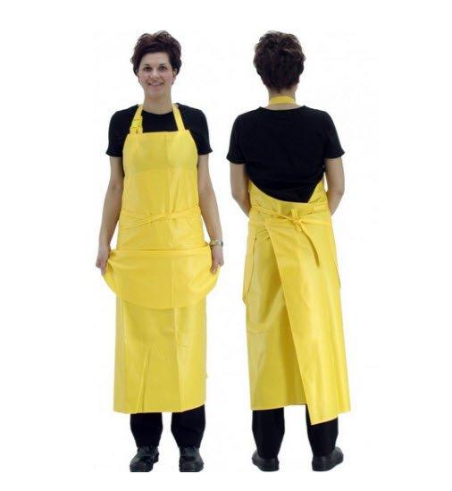 mat waterdicht lange schort pvc geel