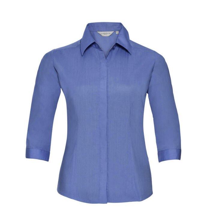 russell dames blouse 3 4 kort poplin l blauw