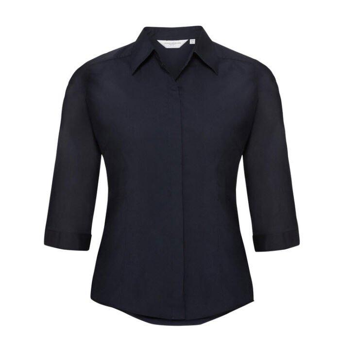 russell dames blouse 3 4 kort poplin marine