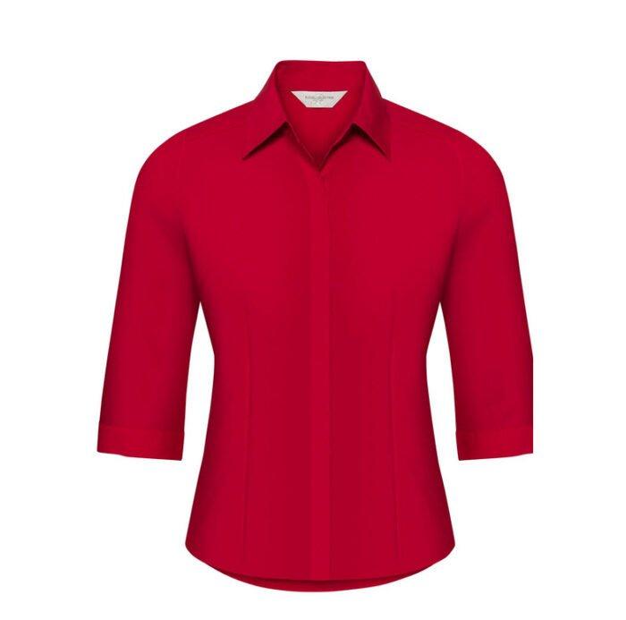 russell dames blouse 3 4 kort poplin rood