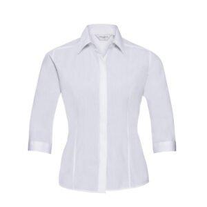 russell dames blouse 3 4 kort poplin wit