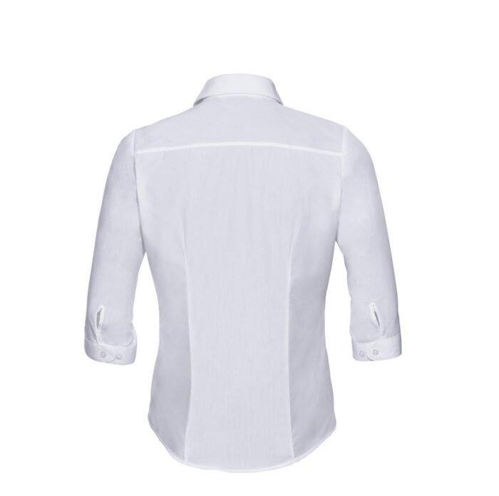 russell dames blouse 3 4 kort poplin wit b