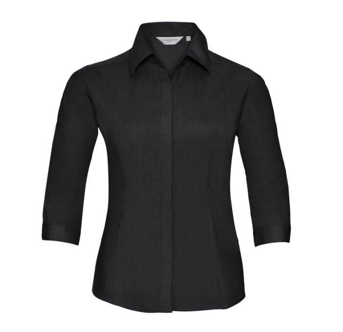 russell dames blouse 3 4 kort poplin zwart
