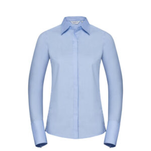 russell dames blouse stretch lange mouw lblauw