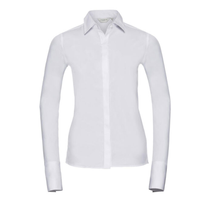 russell dames blouse stretch lange mouw wit