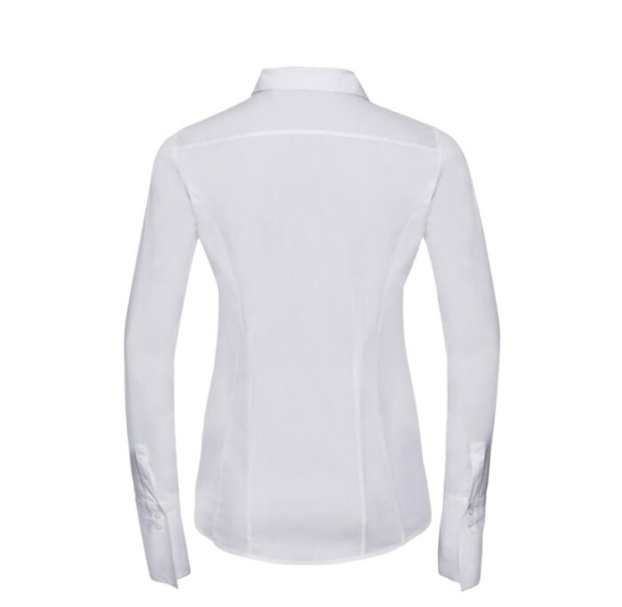 russell dames blouse stretch lange mouw wit b