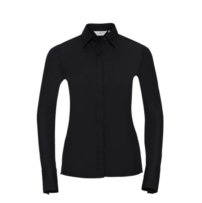 russell dames blouse stretch lange mouw zwart