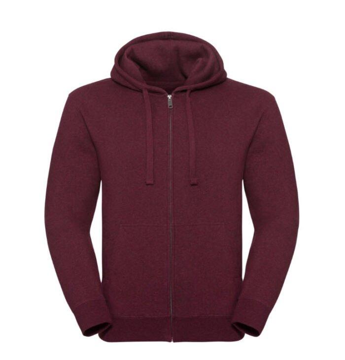 russell heren hoodie vest 280gr m2 wijnrood