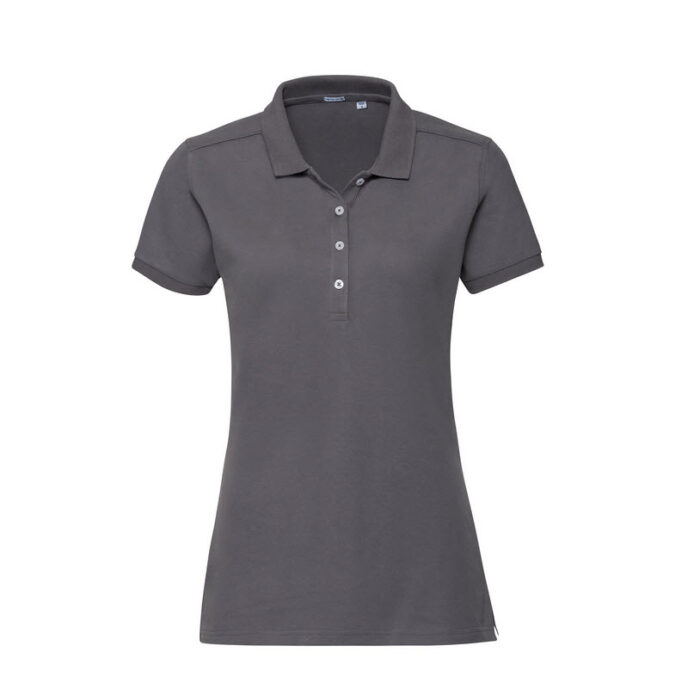 russell stretch dames fit polo shirt 205g m2 d grijs