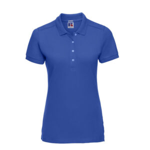 russell stretch dames fit polo shirt 205g m2 blauw