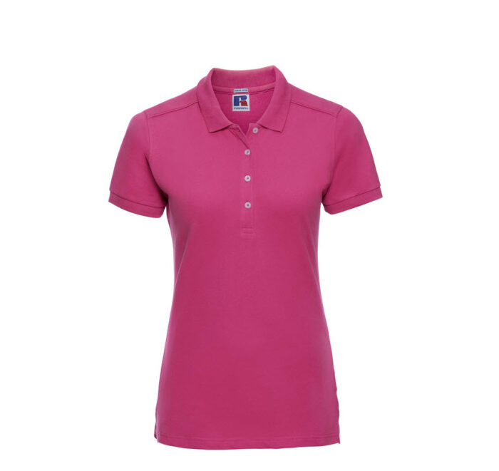 russell stretch dames fit polo shirt 205g m2 fuchsia
