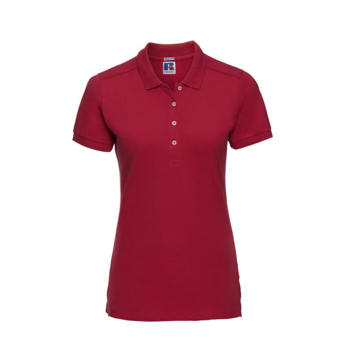 russell stretch dames fit polo shirt 205g m2 rood