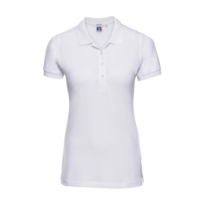 russell stretch dames fit polo shirt 205g m2 wit