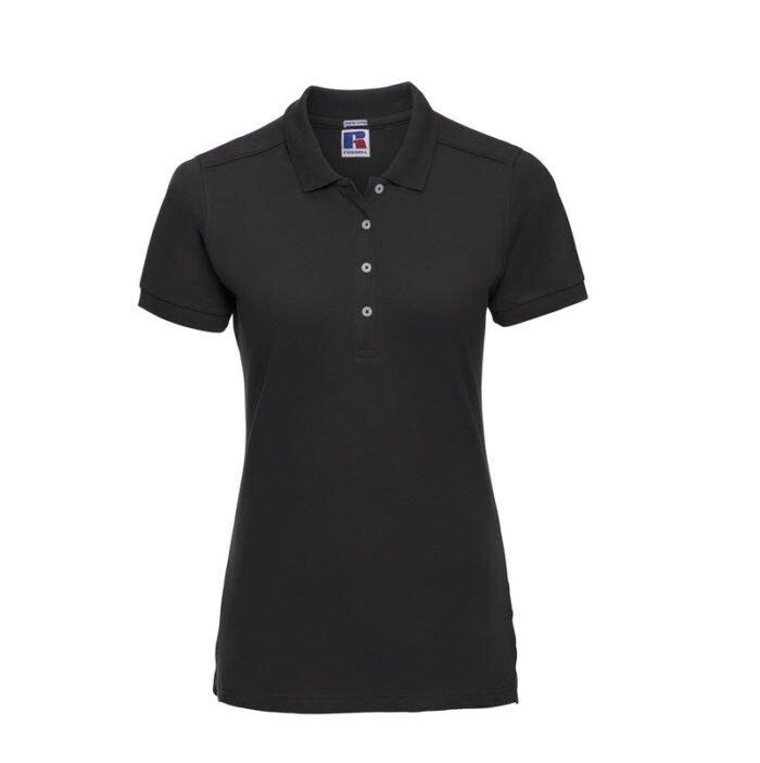 russell stretch dames fit polo shirt 205g m2 zwart