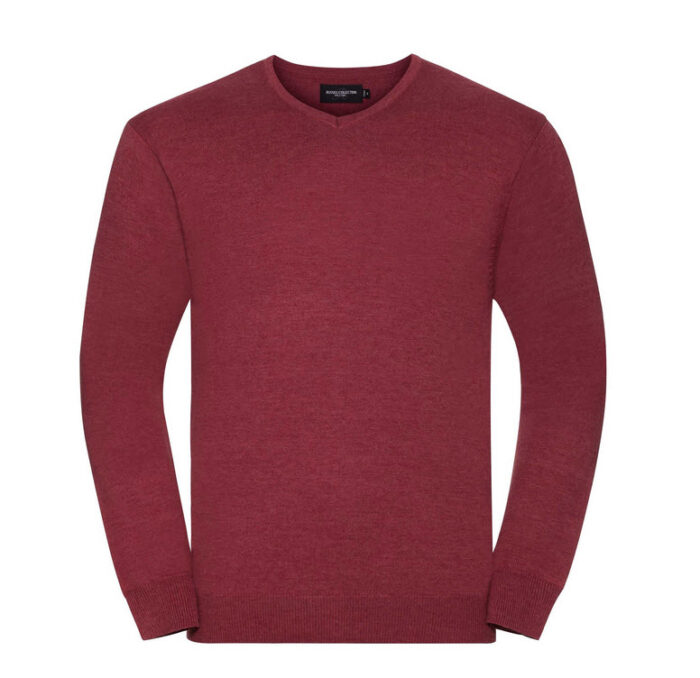 russell high pullover met v hals wijnrood