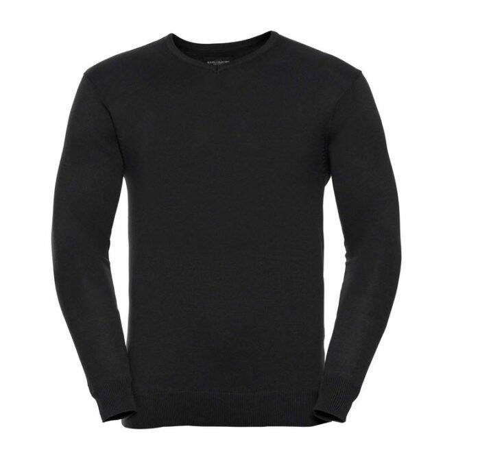 russell high pullover met v hals zwart