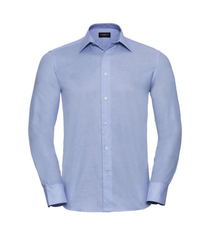 russell overhemd, blouse oxfort lange mouw l blauw
