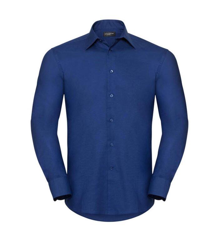 russell overhemd, blouse oxfort lange mouw blauw