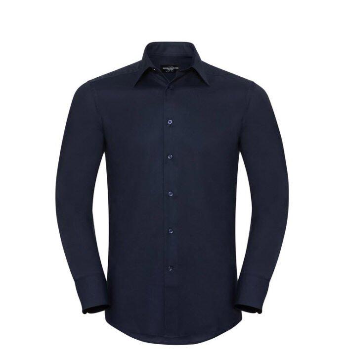 russell overhemd, blouse oxfort lange mouw marine